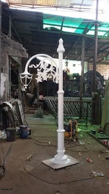 lampu tiang besi tempa, lampu antik