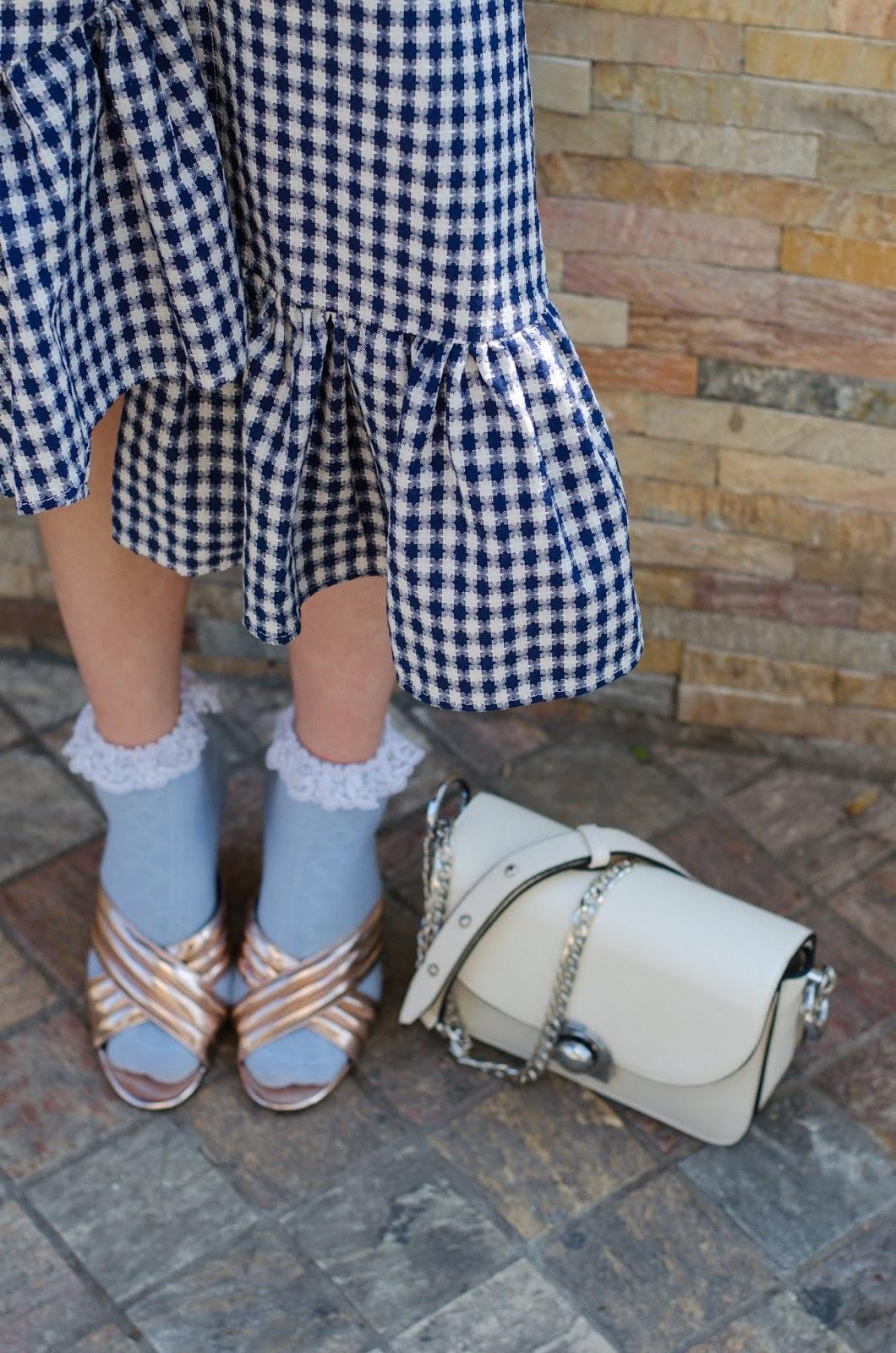 fashion blogger diyorasnotes diyora beta mix prints ruffles checked skirt mules asos socks and heels