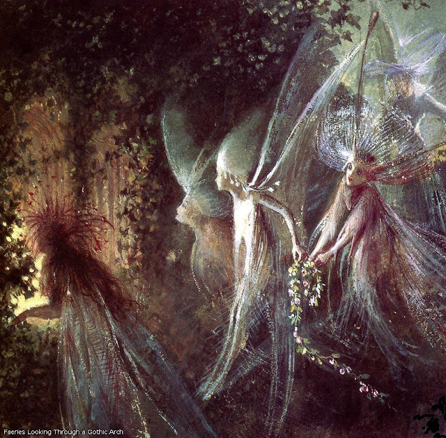 Faeries looking through a Gothic Arch