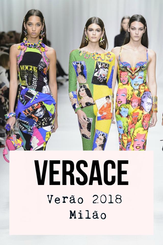 c64b0e829 Donatella Versace, atual diretora criativa da marca, apresentou uma coleção  de primavera 2018 no Milão Fashion Week. A coleção que também foi uma  homenagem ...