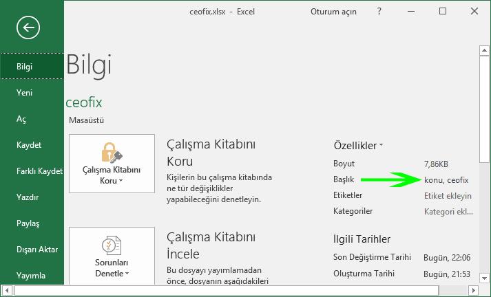 Excel belgesinde etiketleme nasıl yapılır -www.ceofix.com