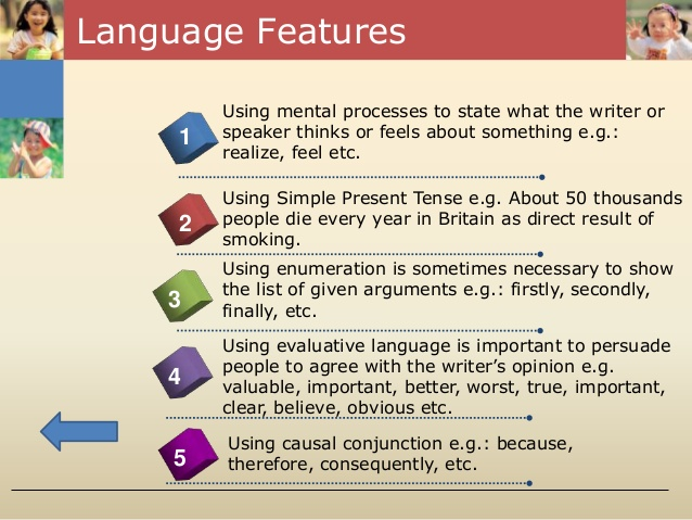 language features of an analytical essay