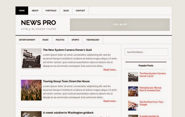 News Pro Responsive Blogger Template 2015 Free Download