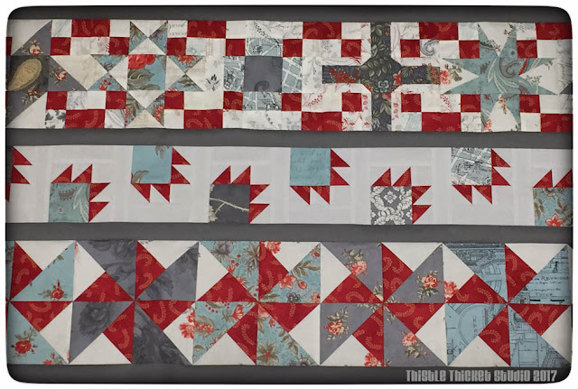 thistle thicket studio, row quilt challenge, 9 patch blocks, bear's paw blocks, double pinwheel blocks, sewing, quilting