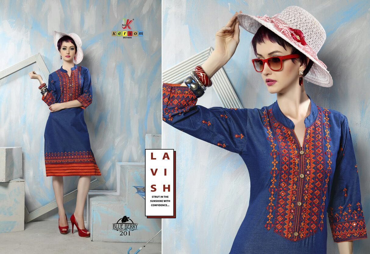 45128e103d Blue Berry Vol 2 - Stylish Fancy New Blue Collection Kurti - Helix ...
