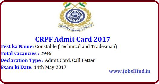 Admit Card,CRPF ,