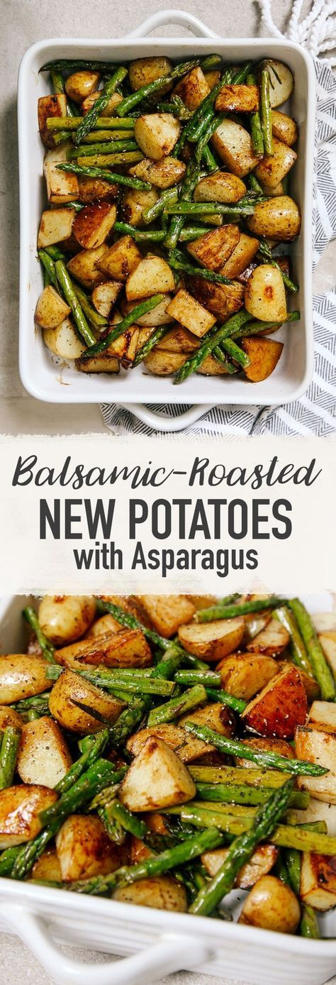 BALSAMIC ROASTED NEW POTATOES WITH ASPARAGUS #balsamic #roasted #potatoes #asparagus #dinner #dinnerrecipes #dinnerideas