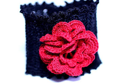 Irish Rose Red and Black Cuff - Handmade Crochet By Nancy Giangrande at Wyvern Designs on Amazon