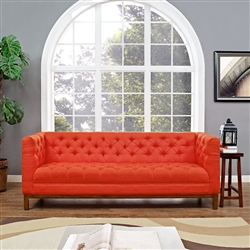 Tufted Red Fabric Sofa