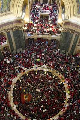 Huge crowd of people packing the Wisconsin State Capitol rotunda
