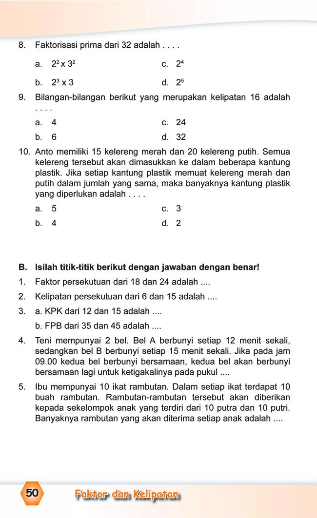 Kumpulan Soal Matematika Soal Ulangan Harian Matematika Kelas 4 Sd Quot Faktor Dan Kelipatan Quot