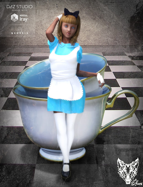 DAZ 3D - Wonderland Alice Outfit and Props for Genesis 3 Female