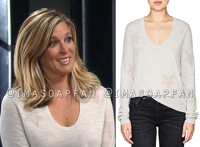 Carly Corinthos, Laura Wright, Ivory Open-Knit Star Sweater, General Hospital, GH