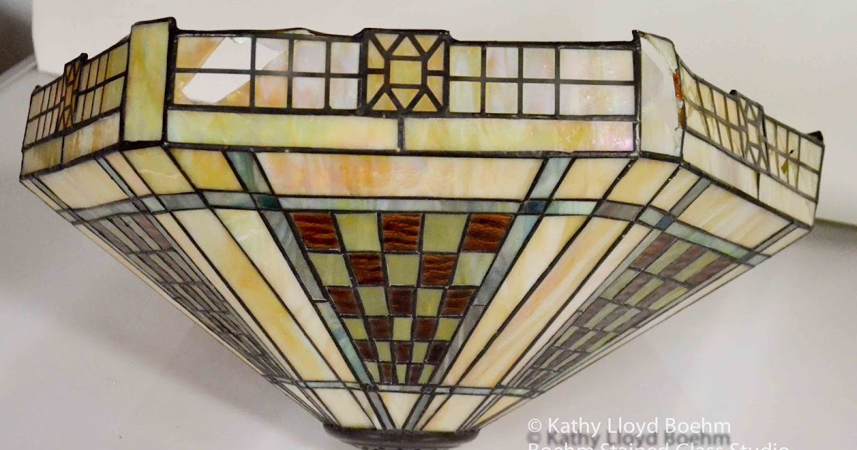 Wright Brothers Stained Glass Lamp : Boehm stained glass frank lloyd wright style lamp repair
