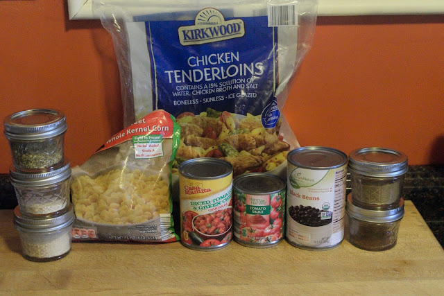 The ingredients needed to make the Southwest Crock Pot Chicken.