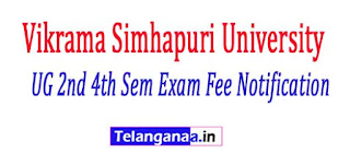 VSU UG 2nd 4th Sem Reg Supply Exam Fee Notification 2017