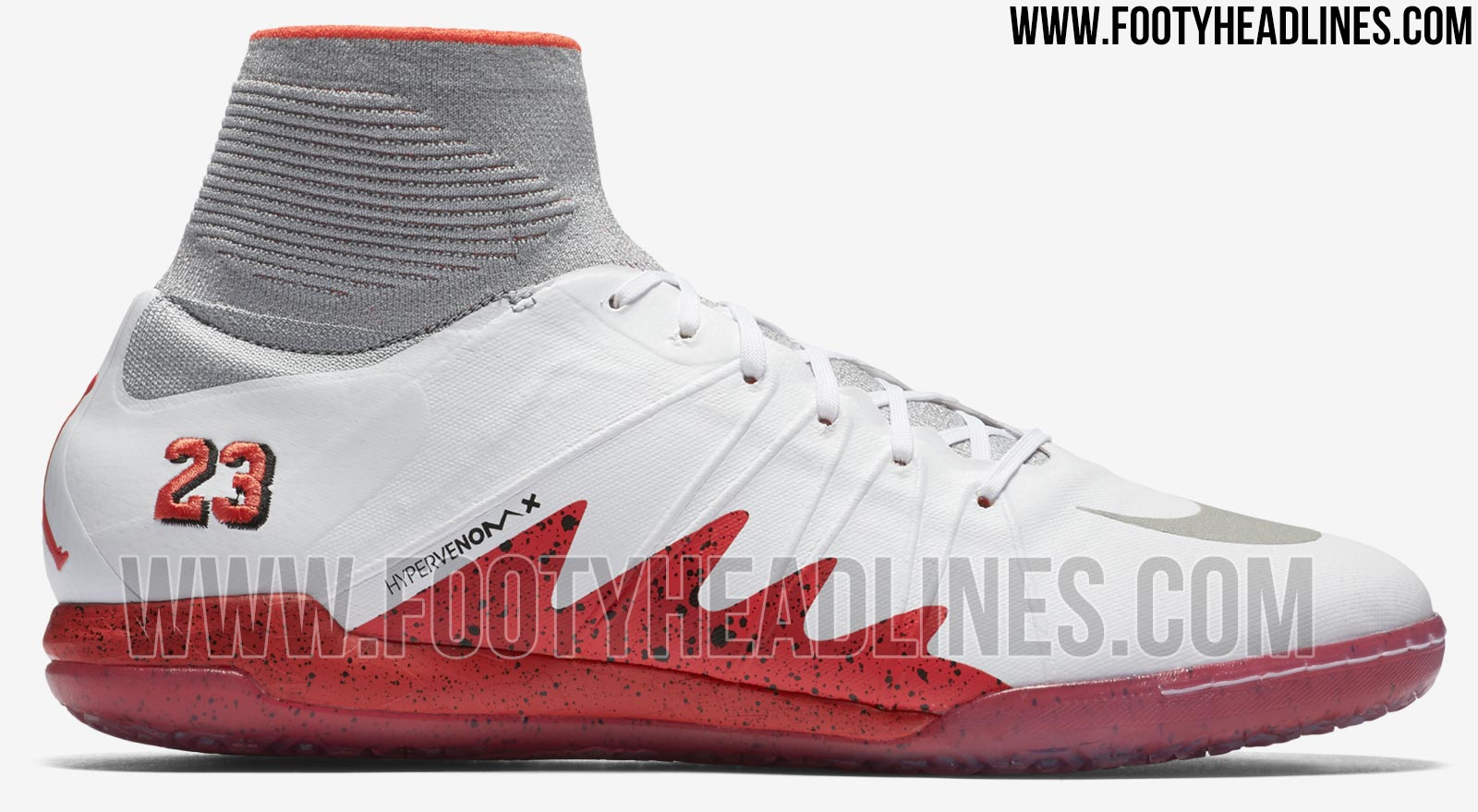 ... Nike HypervenomX Proximo Neymar x Jordan - White   Light Crimson    Black   Reflective Silver ... 3e992d086abef