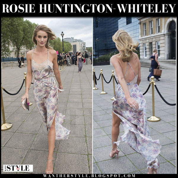 Rosie Huntington-Whiteley in floral print slip dress rosie for autograph what she wore summer party