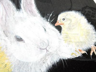 ウサギとヒヨコのアンティーク帯