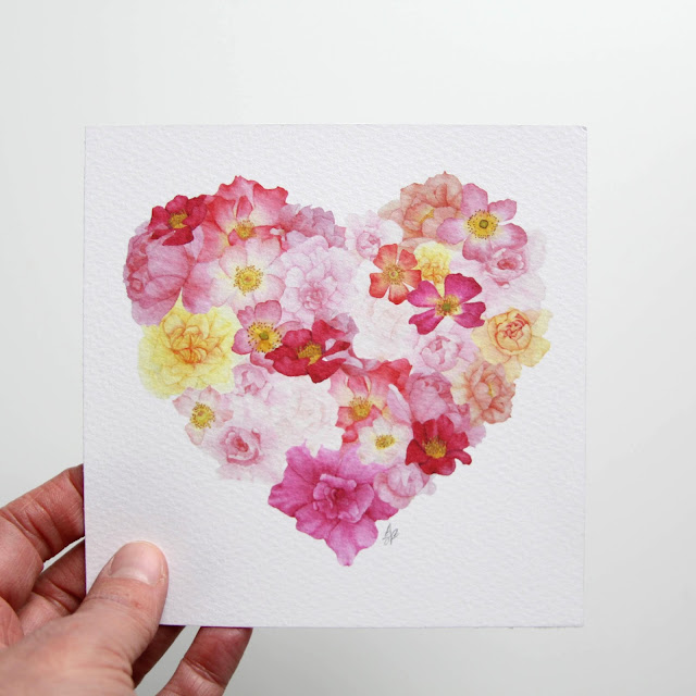 watercolor roses, roses, rose heart, floral heart, Anne Butera, My Giant Strawberry