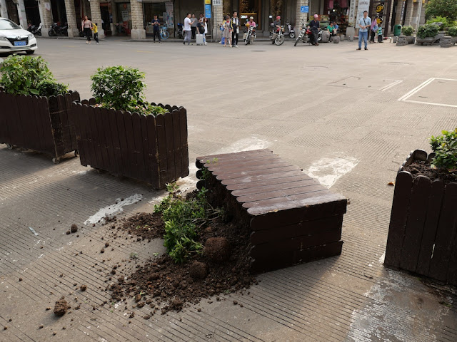 a knocked-over planter