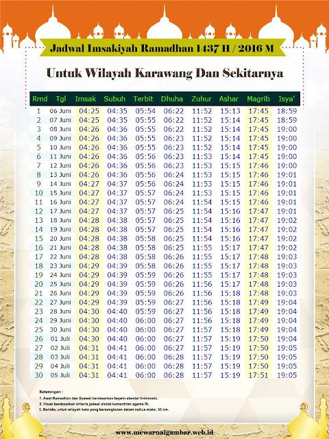 Jadwal Imsakiyah Karawang 1437 H 2016 M