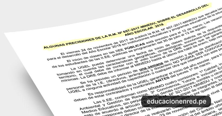 ANÁLISIS: Precisiones sobre el desarrollo del año escolar 2018 - R. M. N° 657-2017-MINEDU (Fernando Gamarra Morales)