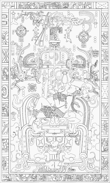 Carved sarcophagus lid of K'inich Janaab' Pakal at the Temple of the Inscriptions, Palenque, Mexico.