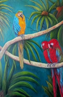 """Three's a Crowd!"" Three Macaws,"
