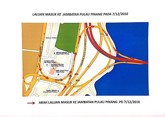 penutupan jalan, Lebuhraya Tun Dr. Lim Chong Eu, penang, pusat bandar, Jambatan Pulau Pinang