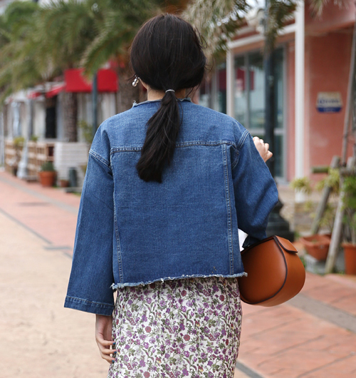 Fringed Concealed Snap Button Denim Jacket