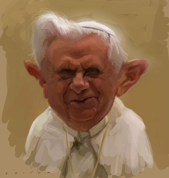 CARICATURA DE Benedicto XVI