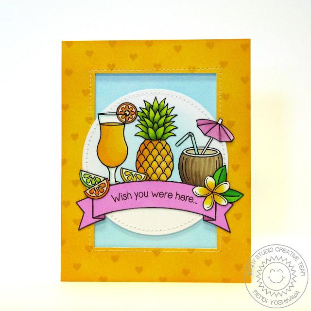 Sunny Studio: Tropical Paradise Fruity Drink Card by Mendi Yoshikawa