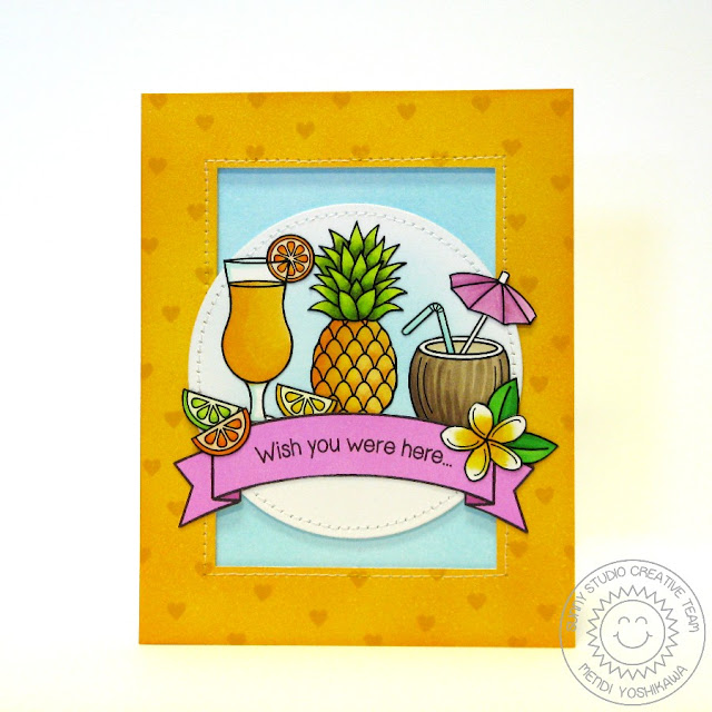 "Sunny Studio Stamps: Tropical Paradise and Sunny Borders ""Wish You Were Here"" Fruity Drink Card by Mendi Yoshikawa"