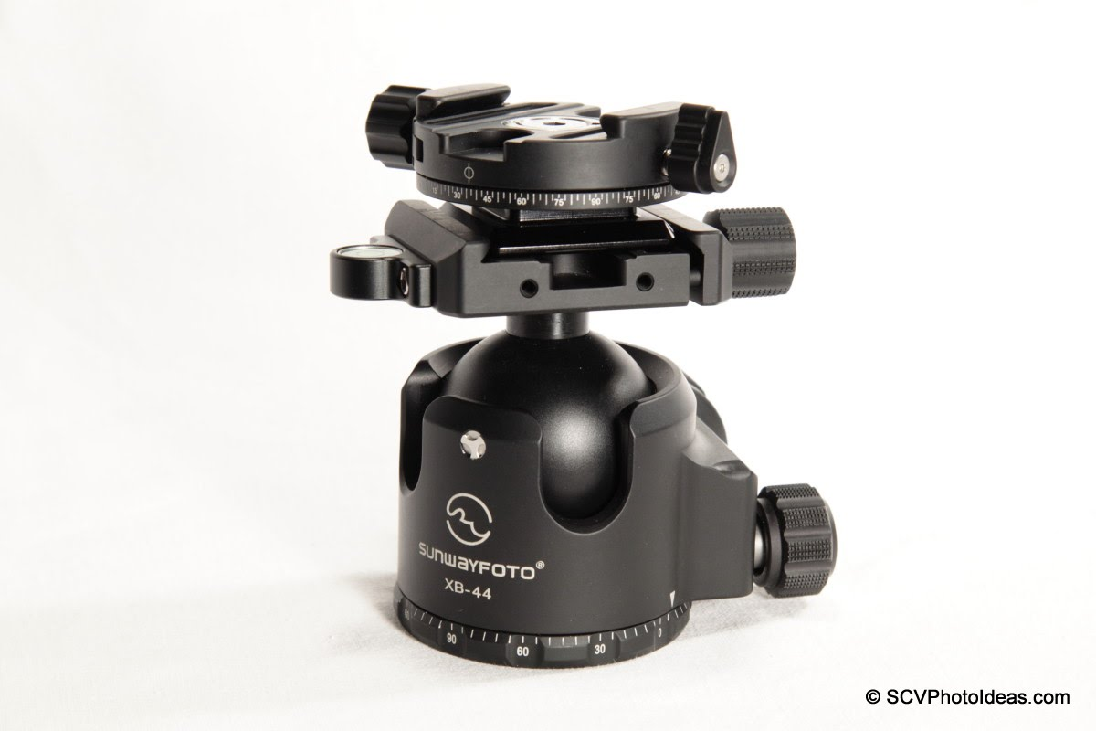 Sunwayfoto DDH-02 on XB-44 ball head clamp via Hejnar Clamp Adapter plate