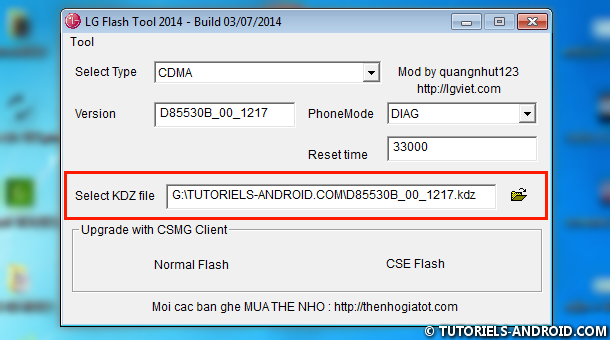 Importer KDZ dans LG Flash Tool