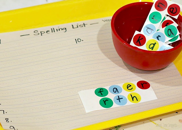 spelling list activity for kids
