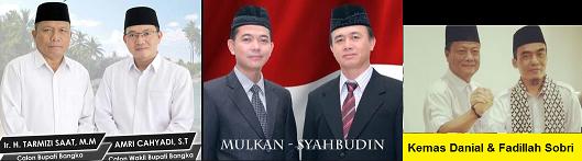 Tiga pasang calon Bupati dan wakil Bupati Kabupaten Bangka 2018