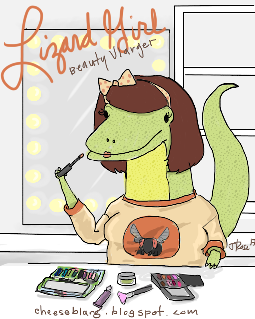 Image reads: Lizard Girl Beauty Vlarger and shows a lizard with a bob haircut and bow in her hair, wearing a peach shirt with a fly on it putting on lipstick in front of a hollywood style mirror.