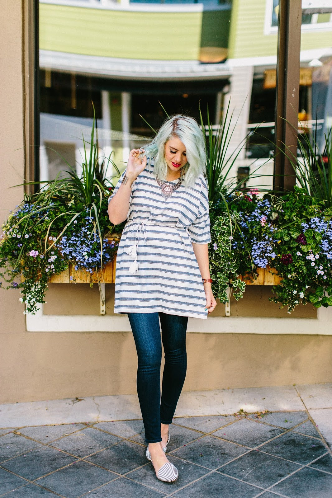 Stripes, Red Lips, Modest Fashion Blogger