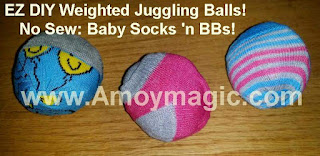 Easy Make Your Own No Sew Weighted Juggling Exercise Balls with Baby Socks andn BBs