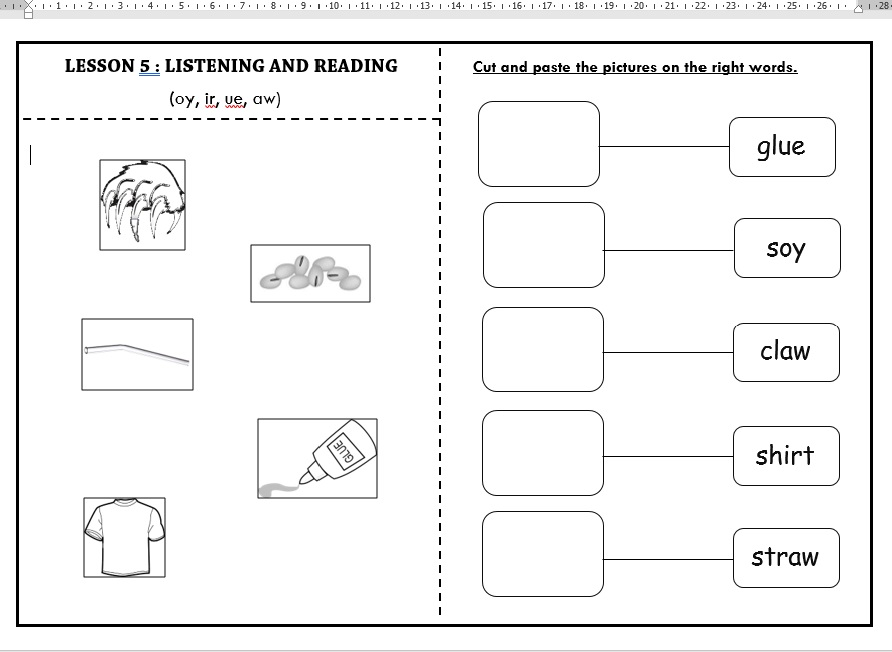Phonic 11 : Phonemes (oy, ir, ue, aw) - Listening and Reading Year ...
