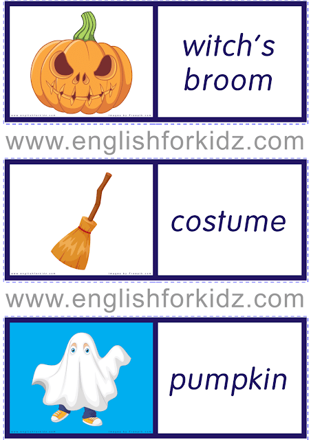 Printable dominoes to learn Halloween vocabulary