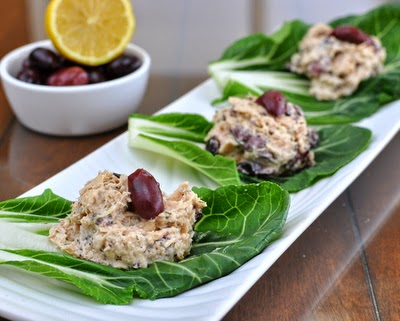 Kalamata Tuna Salad Bok Choy Wraps, tuna salad made with olives wrapped in peppery bok choy leaves. #LowCarb #GlutenFree Paleo, Whole30 friendly. For Weight Watchers, just #PP2 or #PP3.