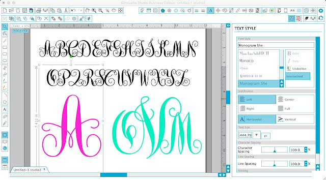 Swirly monogram font commercial use Silhouette CAMEO and Portrait