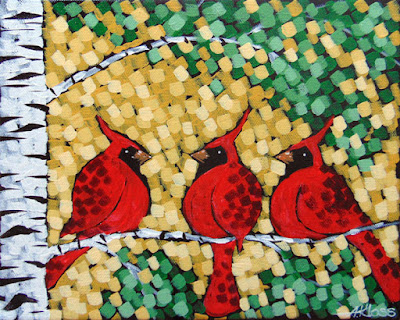 Wingmen painting by artist aaron kloss, painting of cardinals, painting of birch trees, pointillism