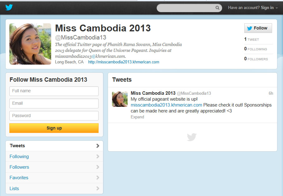 a0ed8ed3e2f KI Media  Miss Cambodia 2013 is also on Twitter