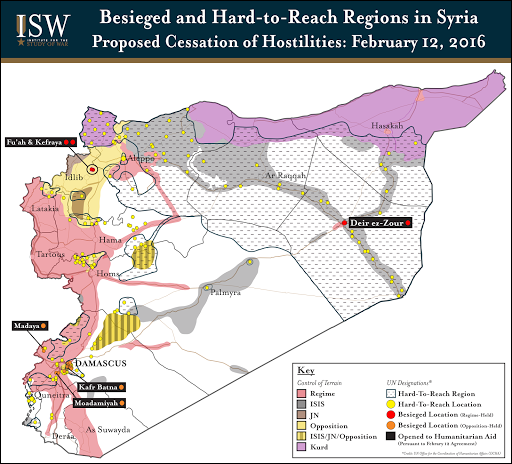 Besieged and Hard-to-Reach Regions in Syria: February 12, 2016