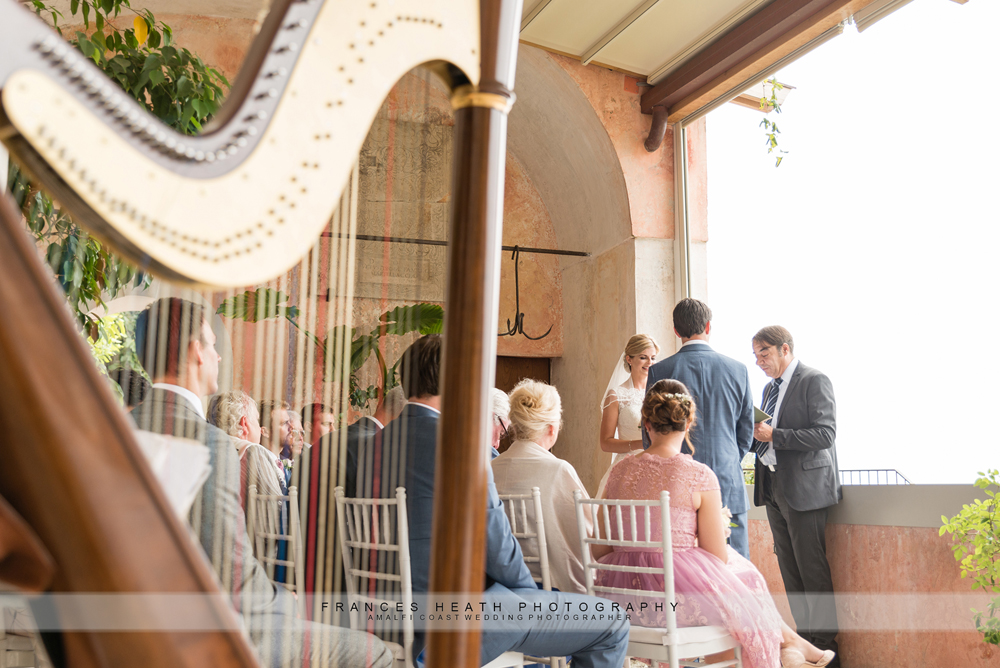Harp music at wedding ceremony