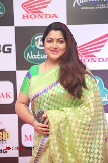 Actress Kushboo Pictures in Green Saree at Mirchi Music Awards South 2015 0006